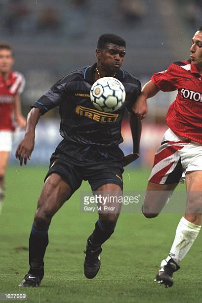 Nwankwo Kanu of Inter Milan in action during the UEFA Cup First Round match against Neuchatel at the San Siro Stadium in Milan Italy Mandatory Credit...