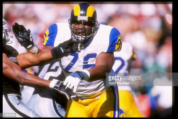 Offensive lineman Orlando Pace of the St. Louis Rams in action during the Rams 35-17 loss to the Oakland Raiders at UMAX Stadium in Oakland,...