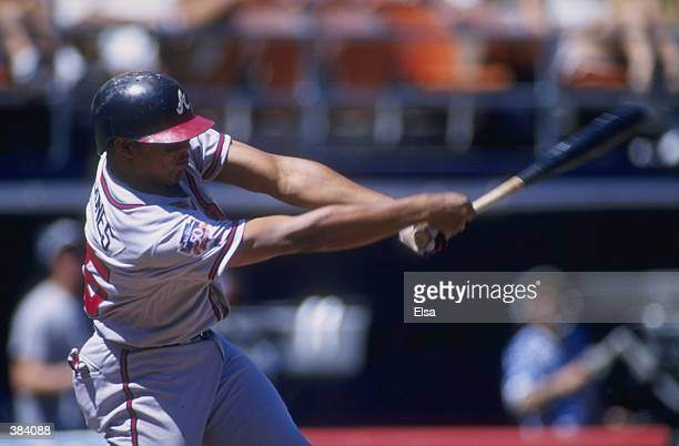 Outfielder Andruw Jones of the Atlanta Braves in action during a game against the San Diego Padres at Qualcomm Stadium in San Diego California The...