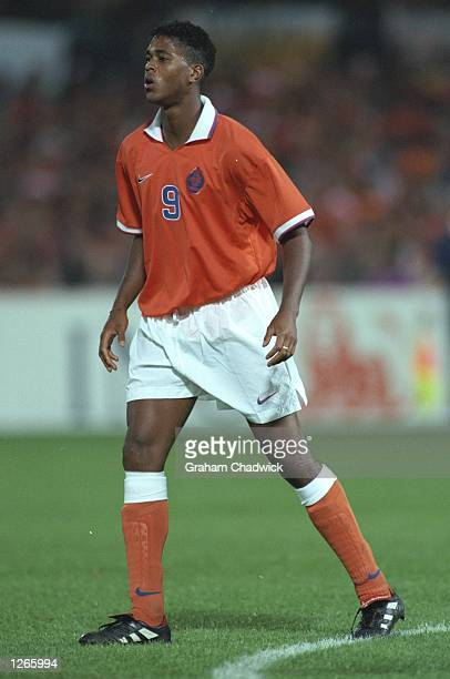 Patrick Kluivert of Holland in action during the World Cup qualifying match against Belgium in Rotterham, Holland. Holland won the match 3-1. \...