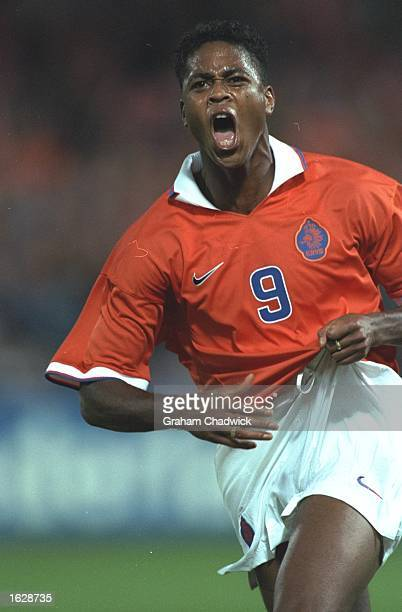 Patrick Kluivert of Holland in action during the World Cup qualifying match against Belgium at the Feyenoord Stadium in Rotterdam, Netherlands....