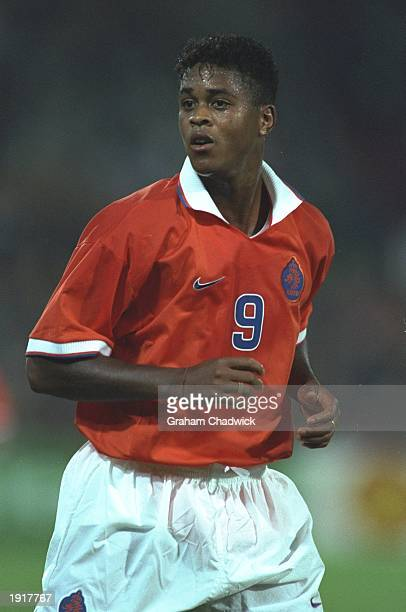 Patrick Kluivert of Holland in action during the World Cup Qualifier match against Belgium in Rotterdam, Holland. Holland won the match 3-1. \...