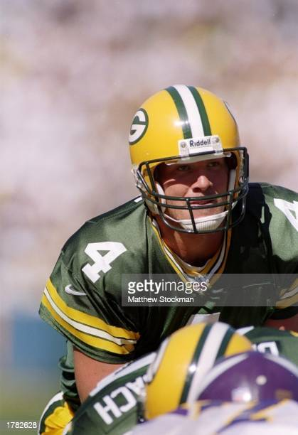 Quarterback Brett Favre of the Green Bay Packers in action during the Packers 3832 win over the Minnesota Vikings at Lambeau Field in Green Bay...