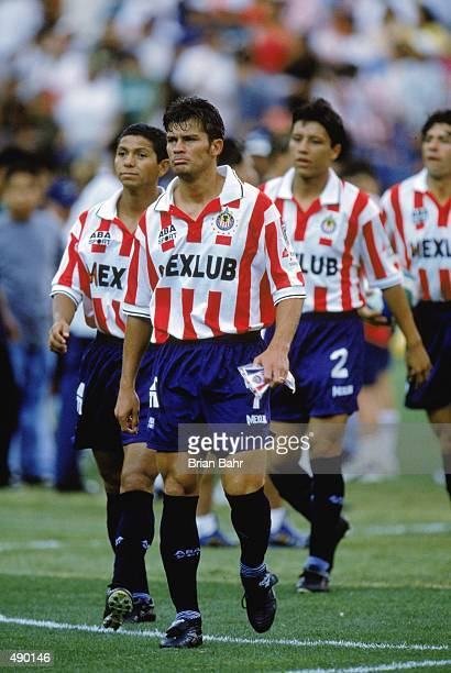 Ramon Ramirez of Chivas walks on the field during an exhibition game against the Colorado Rapids at the Mile High Stadium in Denver Colorado The...