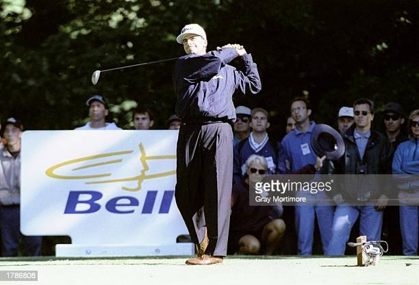 Rocco Mediate watches his shot during the Canadian Open at the Royal Montreal Golf Course in Montreal Quebec