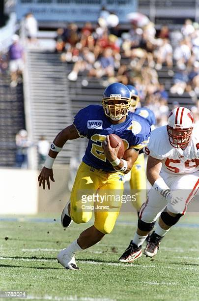 Tailback James Hodgins of the San Jose State Spartans runs with the ball during a game against the Wisconsin Badgers at Spartan Stadium in San Jose...