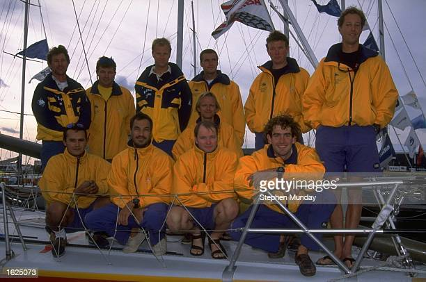 The crew of Whitbread 60 BrunelSunergy on board their yacht before the Whitbread Round the World Race for the Volvo Trophy at Ocean Village Marina in...