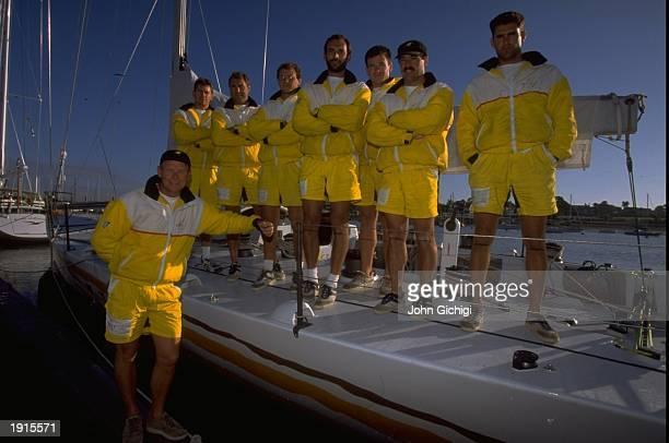 The Merit Cup crew for the Whitbread Round The World Race at Hamble Point Marina England Mandatory Credit John Gichigi /Allsport