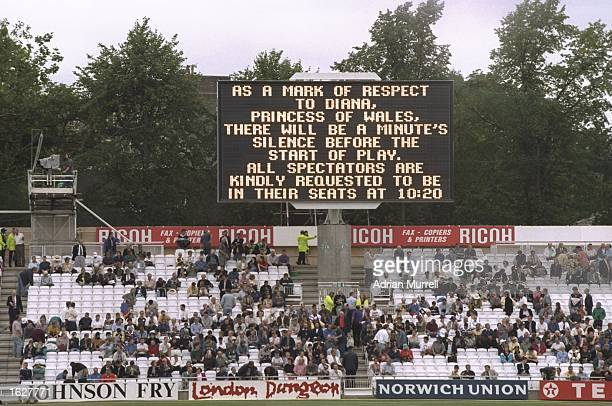 The scoreboard gives details of the minutes's silence as a mark of respect to Diana Princess of Wales at the NatWest Trophy final between Essex and...