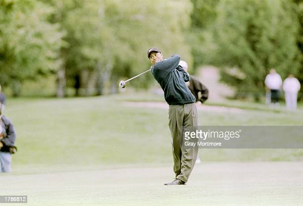 Tiger Woods hits the ball during the Canadian Open at the Royal Montreal Golf Course in Montreal Quebec