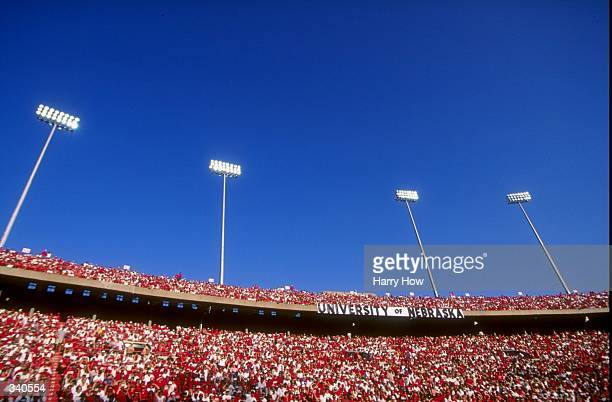 A general view from inside Memorial Stadium in Lincoln Nebraska during a game between the Nebraska Cornhuskers and the Washington Huskies The...