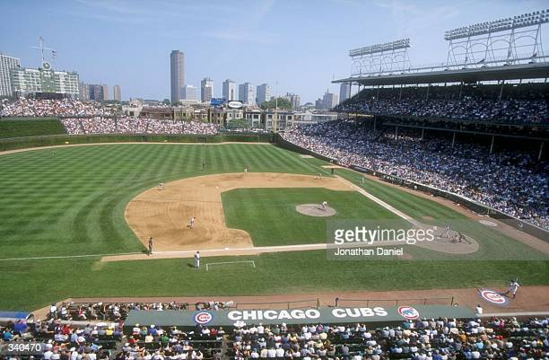 A wide shot of the diamond at Wrigley Field during the game against the Cincinnati Reds in Chicago Illinois The Cubs defeated the Reds 42