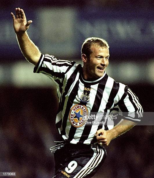 Alan Shearer of Newcastle celebrates a goal during the European Cup Winners Cup against Partizan Belgrade played at St James'' Park in Newcastle...