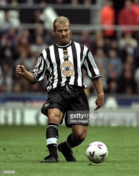 Alan Shearer of Newcastle in action in the FA Carling Premiership match against Southampton at St James'' Park in Newcastle England Newcastle won the...