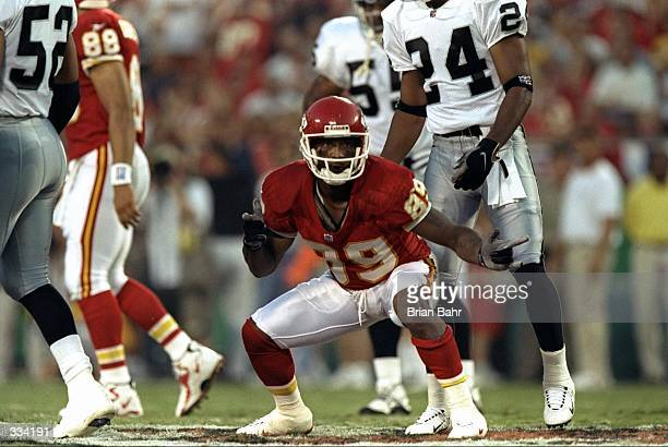 Andre Rison of the Kansas City Chiefs gestures during a game against the Oakland Raiders at the Arrowhead Stadium in Kansas City Missouri The Chiefs...