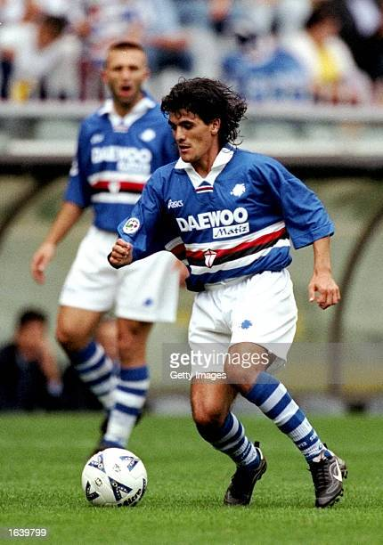 Ariel Ortega of Sampdoria in action during the Serie A match against Perugia in Genoa Italy The game ended in a draw 11 Mandatory Credit Allsport UK...