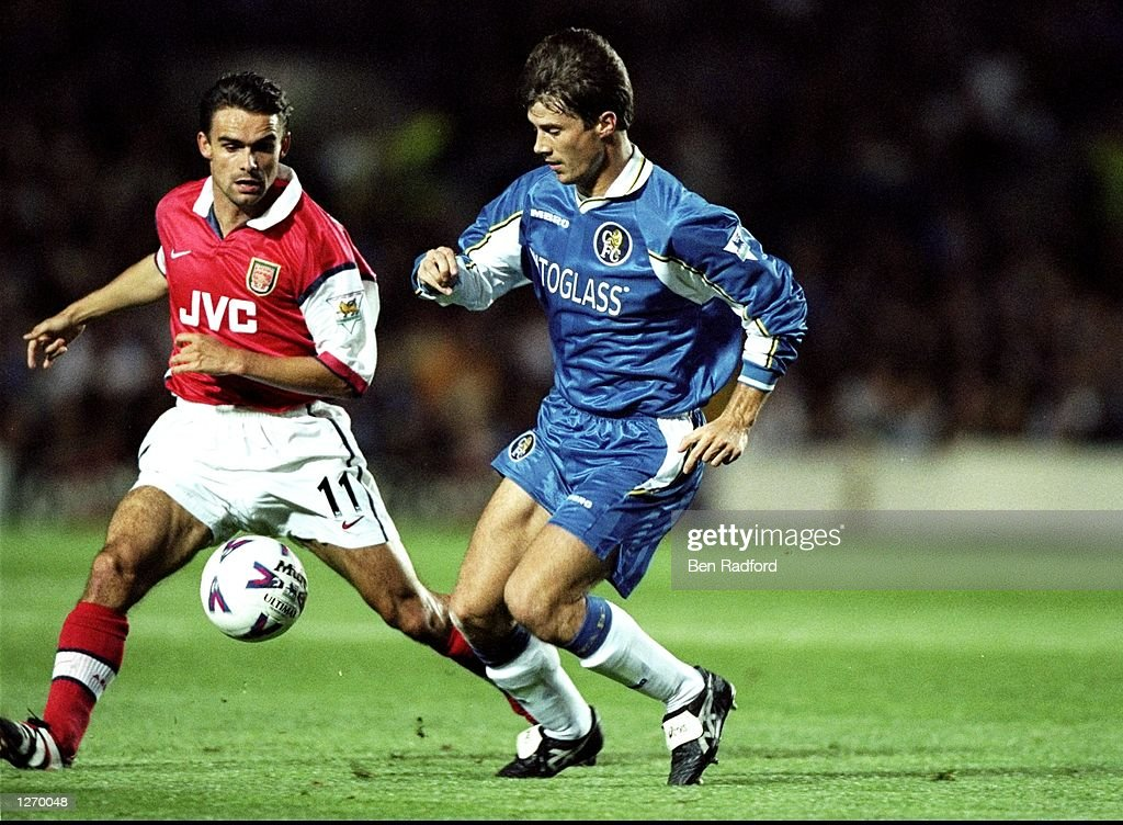 Brian Laudrup and Marc Overmars : News Photo
