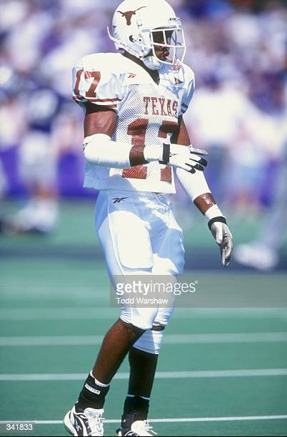 Cornerback Joe Walker of the Texas Longhorns looks on during a game against the Kansas State Wildcats at the KSU Wagner Field in Manhattan Kansas The...