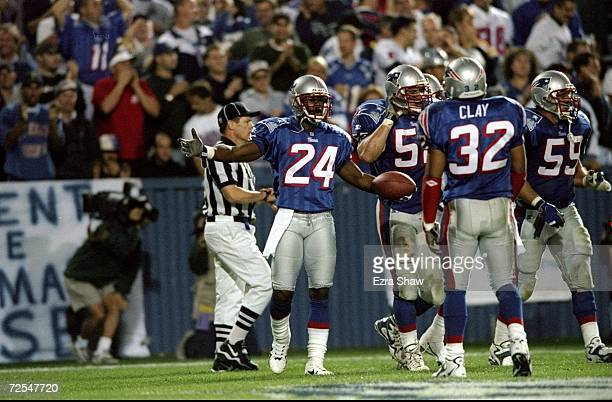 Cornerback Ty Law of the New England Patriots in action during a game against the Indianapolis Colts at the Foxboro Stadium in Foxboro Massachusetts...