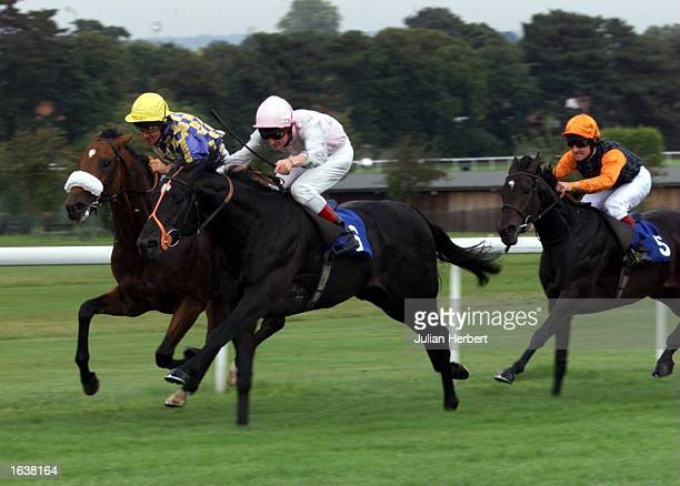 DaneO<Neill brings Daimond Geezer past Pat Eddery on Robber Red and Tim Sprake and Bonnie Dundee to win The Sandown Exhibiton Centre Claiming Stakes...