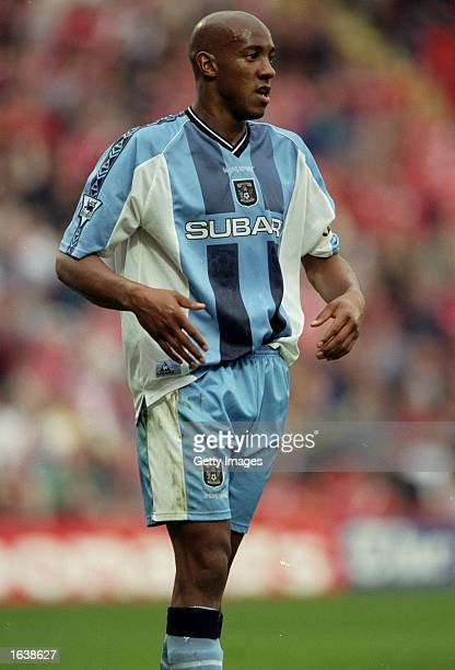 Dion Dublin of Coventry in action during the FA Carrling Premiership match against Charlton at The Valley stadium in Coventry, England. The game endd...