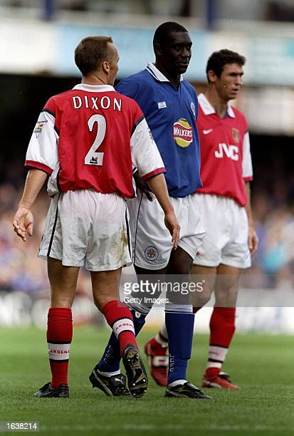 Emile Heskey of Leicester City is watched by Lee Dixon and Martin Keown of Arsenal during the FA Carling Premiership game at Filbert Street Leicester...