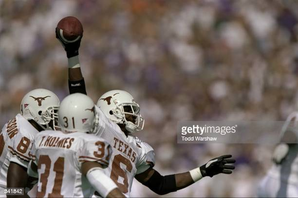 Free safety Quentin Jammer of the Texas Longhorns in action during a game against the Kansas State Wildcats at the KSU Wagner Field in Manhattan...
