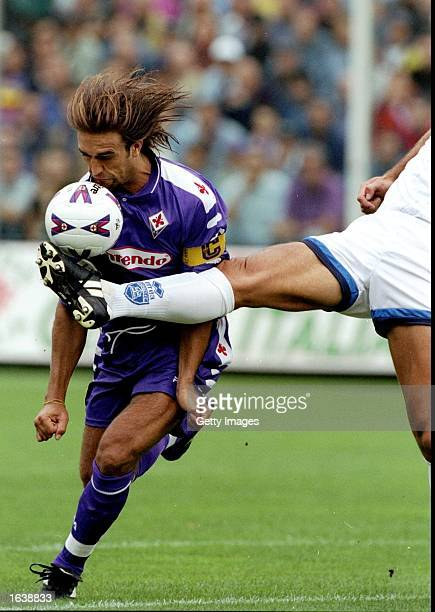 Gabriel Batistuta of Fiorentina in action during the Serie A match against Empoli at the Stadio Communale in Florence Italy Mandatory Credit Allsport...