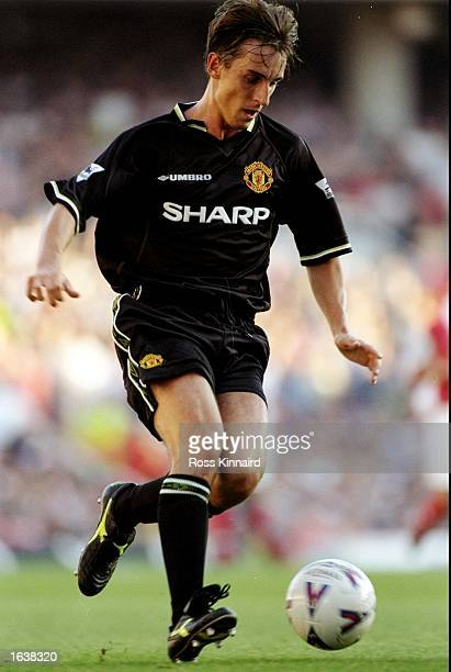 Gary Neville of Manchester United on the ball during the FA Carling Premiership match against Arsenal at Highbury in London Arsenal won 30 Mandatory...