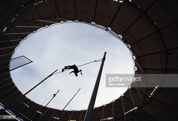 General view of a Pole Vaulter Silhouetted of at the Commonwealth Games in Kuala Lumper Malaysia Mandatory Credit Mike Hewitt /Allsport