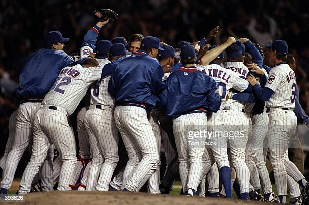 General view of the Chicago Cubs celebrating following a playoff game against the San Francisco Giants to determine the National League Wild Card...