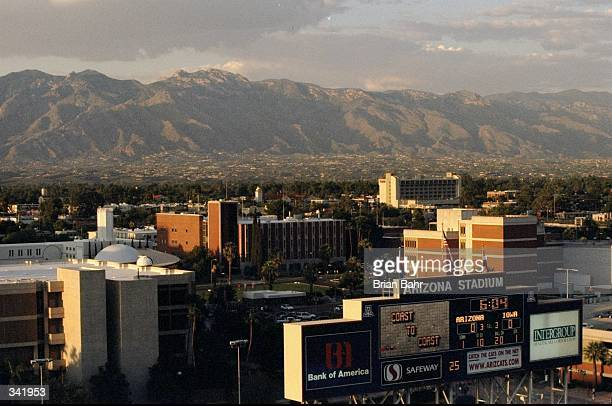 General view of the scoreboard and skyline during a game between the Arizona Wildcats and the Iowa Hawkeyes at the Arizona Stadium in Tucson Arizona...