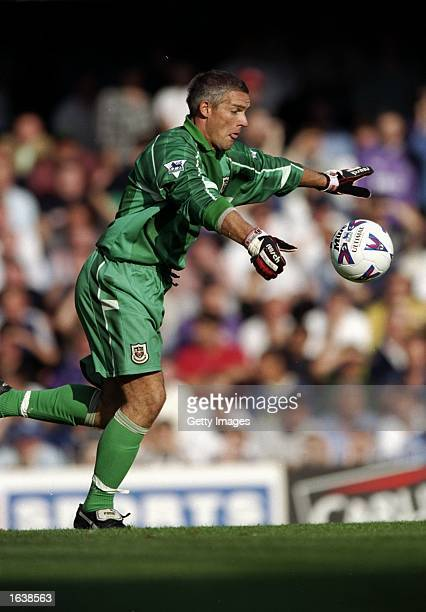 Hans Segers of Tottenham Hotspur kicks upfield during the FA Carling Premiership match against Southampton at the Dell in Southampton, England. The...