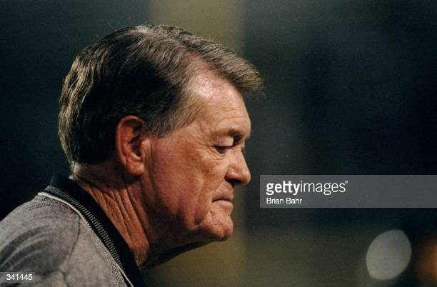 Head coach Hayden Fry of the Iowa Hawkeyes looks on during a game against the Arizona Wildcats at the Arizona Stadium in Tucson Arizona The Wildcats...