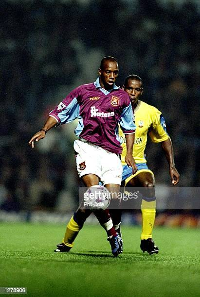 Ian Wright of West Ham in action during the FA Carling Premiership match against Southampton at Upton Park in London England West Ham won the match...