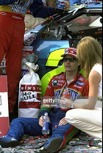 Jeff Gordon relaxes after winning the NASCAR Pepsi Southern 500 at the Darlington International Raceway in Darlington South Carolina