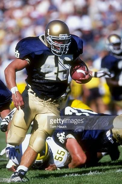 Joey Goodspeed of the Notre Dame Fighting Irish runs with the ball during a game against the Michigan Wolverines at the Notre Dame Stadium in South...