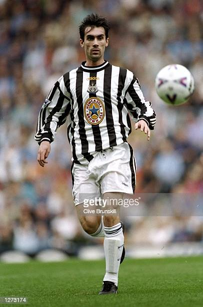Keith Gillespie of Newcastle in action during the FA Carling Premiership match against Coventry at Highfield Road in Coventry England Newcastle won...