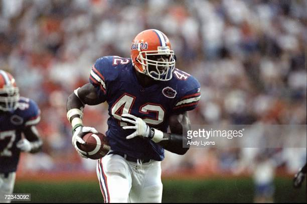 Linebacker Jevon Kearse of the Florida Gators in action during the game against the Kentucky Wildcats at Florida Field in Gainesville Florida The...