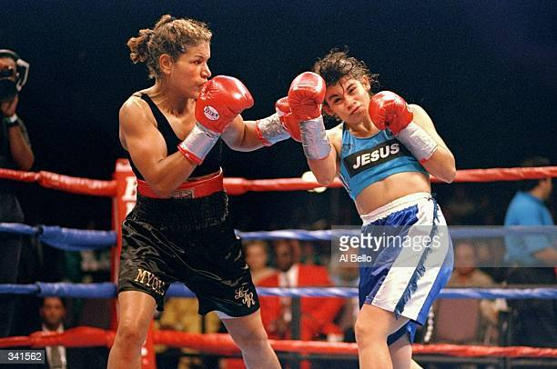 Lucia Rijker throws a left hand to the head of Marcela Avna during her bout at the Foxwoods Casino in Ledyard Connecticut Rijker defeated Avna by way...