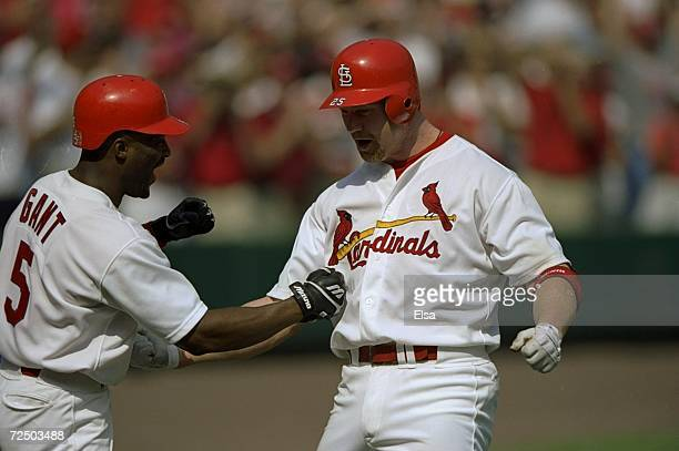 Mark McGwire of the St Louis Cardinals is congratulated by teammate Ron Gant after hitting his 70th home run of the season during a game against the...