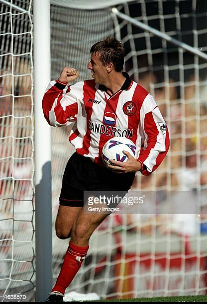 Matt Le Tissier of Southampton celebrates his goal during the FA Carling Premiership match against Tottenham Hotspur at the Dell in Southampton...