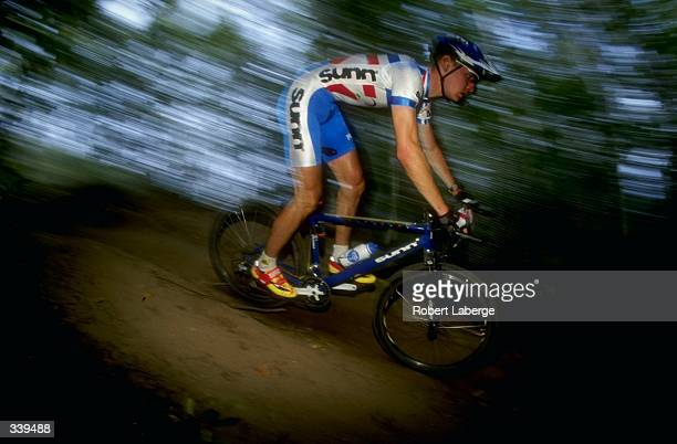 Miguel Martinez of France in action during the Grundig/UCI Mountain Bike World Cup 1998 on Mount Saint Anne in Quebec, Canada.