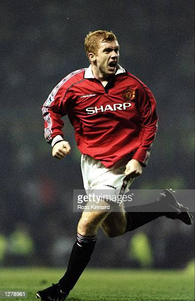 Paul Scholes of Manchester United celebrates a goal against Liverpool during an FA Carling Premiership match at Old Trafford in Manchester England...