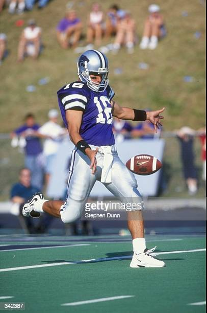 Punter James Garcia of the Kansas State Wildcats in action during a game against the Texas Longhorns at the KSU Wagner Field in Manhattan Kansas The...