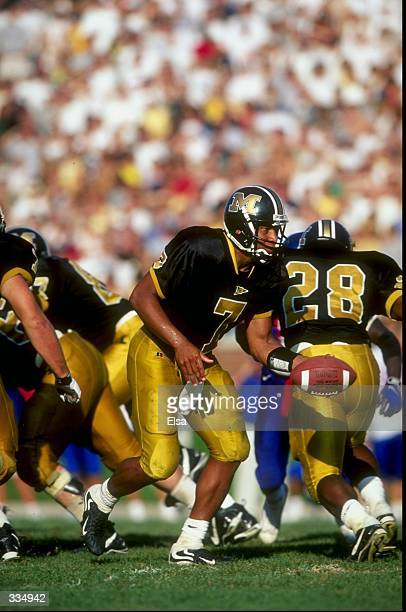 Quarterback Corby Jones of the Missouri Tigers in action during a game against the Kansas Jayhawks at Faurot Field in Columbia, Missouri. The Tigers...