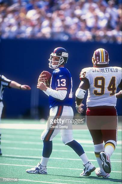 Quarterback Danny Kanell of the New York Giants in action during the game against the Washington Redskins at the Giants Stadium in East Rutherford...