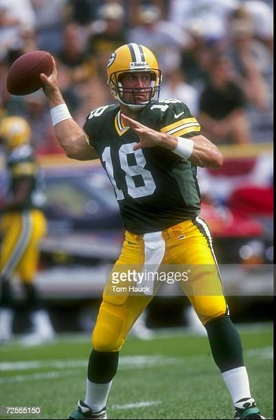 Quarterback Doug Pederson of the Green Bay Packers in action during the game against the Detroit Lions at Lambeau Field in Green Bay Wisconsin The...