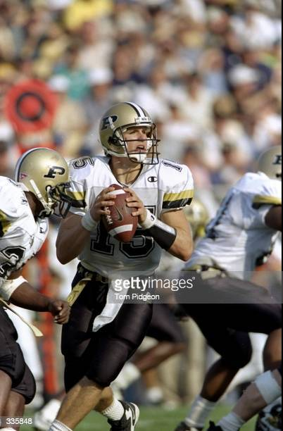 Quarterback Drew Brees of the Purdue Boilermakers in action during the game against the Notre Dame Fighting Irish at the Notre Dame Stadium in South...