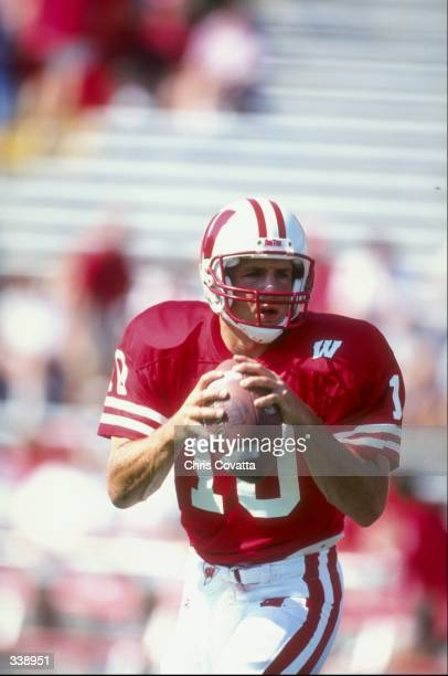Quarterback Mike Samuel of the Wisconsin Badgers in action during a game against the Ohio Bobcats at Camp Randall in Madison Wisconsin The Badgers...